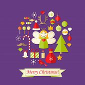 Purple Christmas Card With Flat Icons Set And Angel