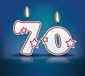 Birthday candle number 70 with flame - eps 10 vector illustration