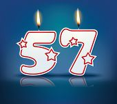 Birthday candle number 57 with flame - eps 10 vector illustration