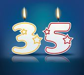 Birthday candle number 35 with flame - eps 10 vector illustration