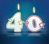 Birthday candle number 40 with flame - eps 10 vector illustration