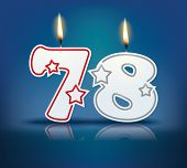 Birthday candle number 78 with flame - eps 10 vector illustration