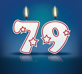 Birthday candle number 79 with flame - eps 10 vector illustration