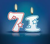 Birthday candle number 71 with flame - eps 10 vector illustration