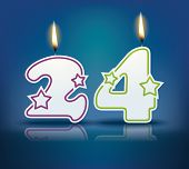 Birthday candle number 24 with flame - eps 10 vector illustration