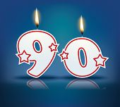 Birthday candle number 90 with flame - eps 10 vector illustration