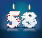Birthday candle number 58 with flame - eps 10 vector illustration