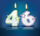 Birthday candle number 46 with flame - eps 10 vector illustration