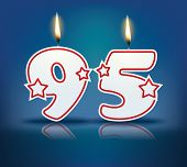 Birthday candle number 95 with flame - eps 10 vector illustration
