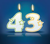 Birthday candle number 43 with flame - eps 10 vector illustration