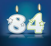 Birthday candle number 84 with flame - eps 10 vector illustration