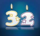 Birthday candle number 32 with flame - eps 10 vector illustration