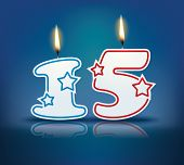 Birthday candle number 15 with flame - eps 10 vector illustration