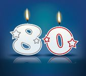 picture of candle flame  - Birthday candle number 80 with flame  - JPG