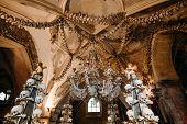 Chandelier, Old Bones And Skulls In Sedlec Ossuary (kostnice), Kutna Hora, Czech Republic