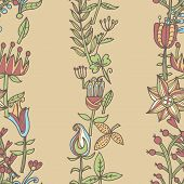 Flower Vector Texture.  Endless Floral Pattern. Can Be Used For Wallpaper