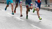 Colorful Triathlon Feet And Legs