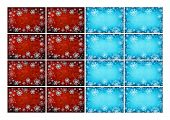 Grunge christmas frames with snow flocks as printable gift labels or stickers