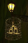 Christmas Decoration On House Wall With Candles