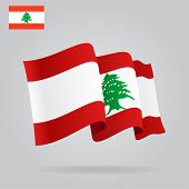 Flat And Waving Lebanese Flag. Vector