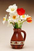 Tulips And Narcissus In Vase