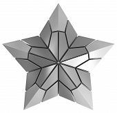 Christmas Star Silver 3D Isolated