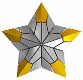 Christmas Star Silver And Golden 3D Isolated