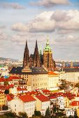 Aerial View Of Prague With St Vitus Cathedral
