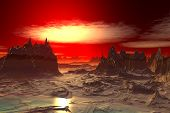 3D Rendered Fantasy Alien Planet. Rocks And  Sunset