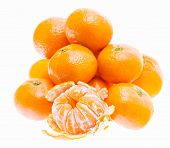 Peeled Mandarin Tangerine Orange Fruit Isolated On White Background