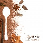 Creative background with baking seasonings and copy-space