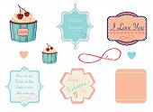 Design labels on love, valentine and wedding theme