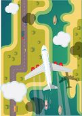 Airplane flying over ground. Vector illustration.