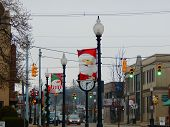 small town decorated for the holidays
