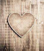 Wooden heart shape background