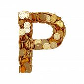 Alphabet Letter P With Golden Coins Isolated On White Background