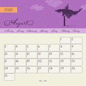 Calendar for August 2015 starting Monday, vector calendar set