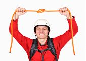 Hiker Holding Rope