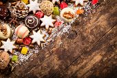 Wood background with sweets