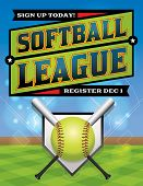 picture of softball  - An illustration for a softball league flyer - JPG