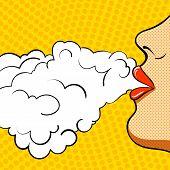 Poster Retro Pop Art. She Smokes.