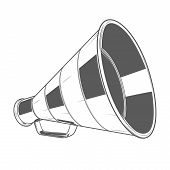 Vintage Megaphone Isolated On A White Background. Monochromatic Line Art. Retro Design. Vector Illus