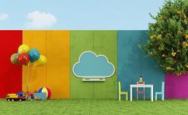 stock photo of playground school  - School playground for children with cloud chalkboard and toys  - JPG