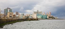 foto of malecon  - A view on the Vedado area and the Malecon of Havana in bad weather in Cuba - JPG