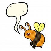 picture of bee cartoon  - cartoon happy bee with speech bubble - JPG