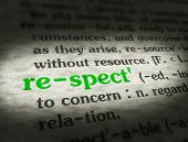 picture of respect  - Dictionary definition of the word RESPECT on paper - JPG