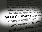 pic of summary  - Dictionary definition of the word SUMMARY on paper - JPG