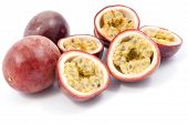 foto of passion fruit  - Passion Fruit cut in half over a white background - JPG