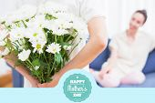 foto of bouquet  - mothers day greeting against daughter giving mother white bouquet - JPG