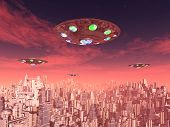 image of flying saucer  - Computer generated 3D illustration with flying saucers over a megacity - JPG